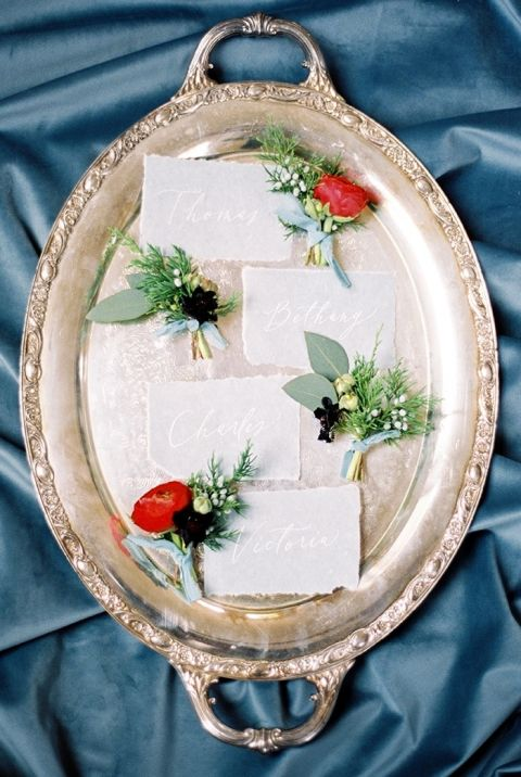 Vintage Silver Tray with Winter Wedding Flowers