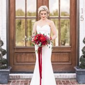 Timeless Winter Bride with a Red Velvet Bouquet