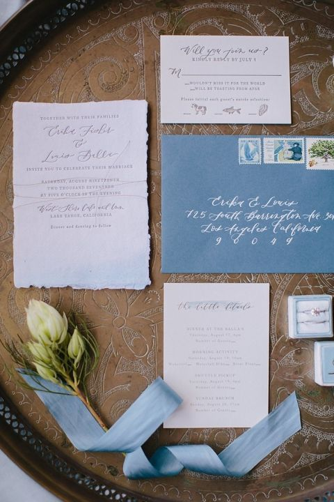 Elegant Blue and White Wedding Invitations with Antique Gold Accents