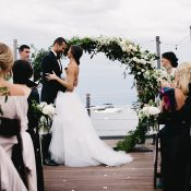Round Floral Ceremony Arch for a Lakefront Tahoe Wedding