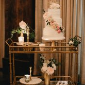 Vintage Gold and Pink Wedding Cake Cart