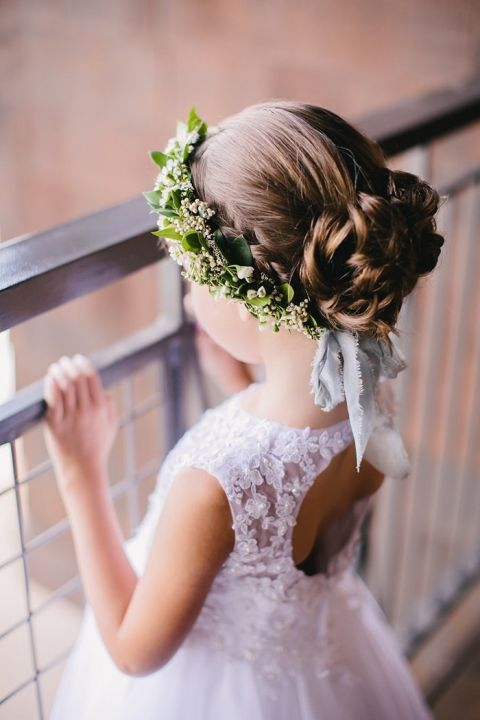 Adorable Flower Girl with a Wreath Headpiece
