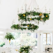 Greenery and Lemon Chandeliers for a Mediterranean Citrus Wedding Reception