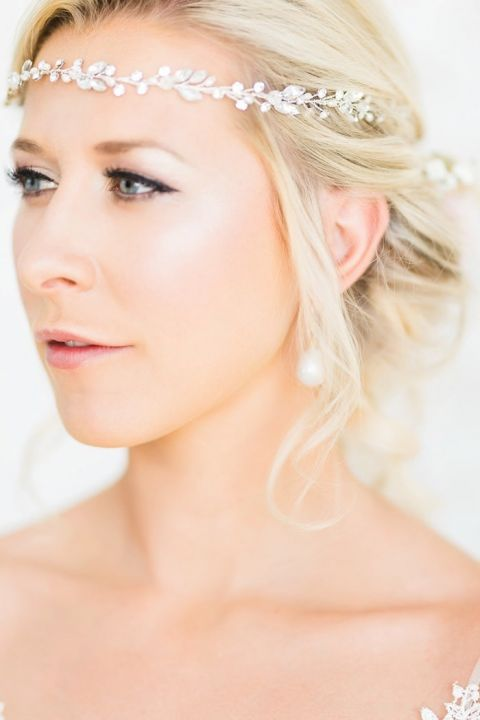 Gorgeous Bridal Makeup with a Crystal Flower Headpiece