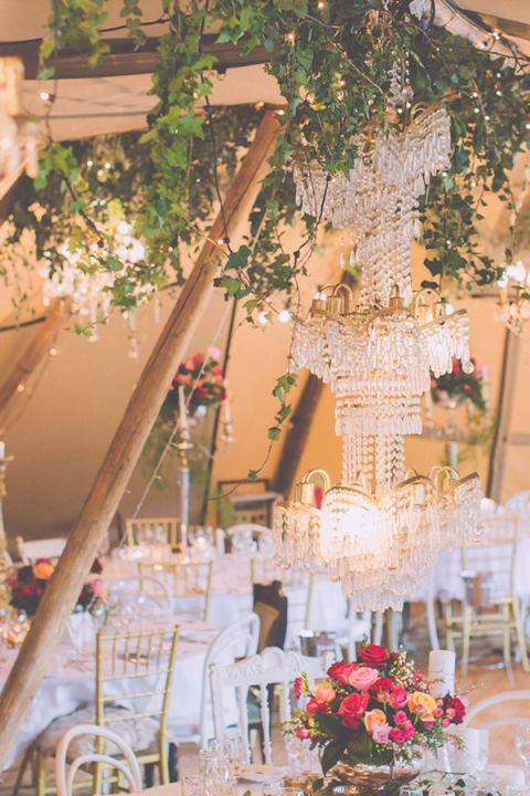 Rustic Glam Wedding Reception with Crystal Chandeliers
