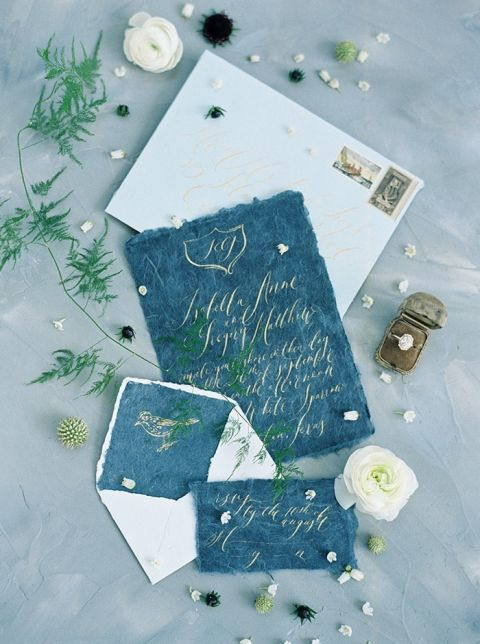 Luxurious Hand Made Paper Invitations in Blue and Gold