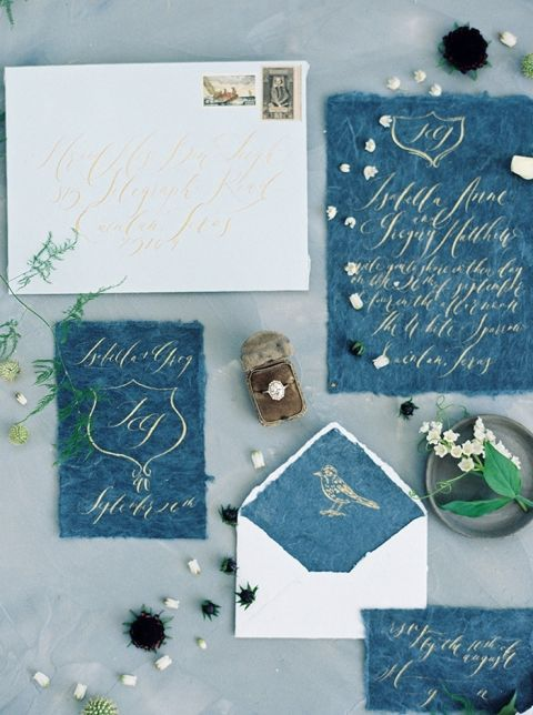 Gold Ink Invitations on Hand Crafted Paper in Indigo Blue