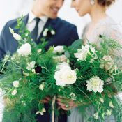Wild Greenery and White Bouquet with Garnet Flowers