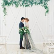 White and Greenery Barn Wedding with Moody Blues and Grays