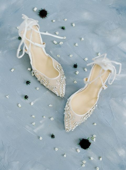 Crystal Wedding Shoes with Ribbon Ties