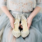 Sheer Tulle and Lace Wedding Dress with Crystal Heels