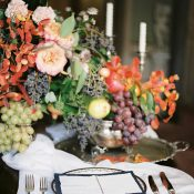 Still Life Inspired Centerpiece with Antique Decor