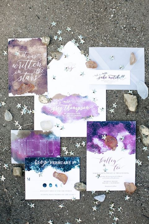 Galaxy Inspired Invitations for a Celestial Wedding Shoot