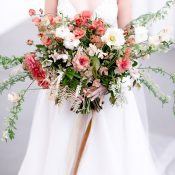 Coral Bridal Bouquet with Organic Greenery