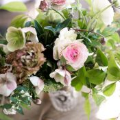 Green, Mauve, and White Wedding Flowers