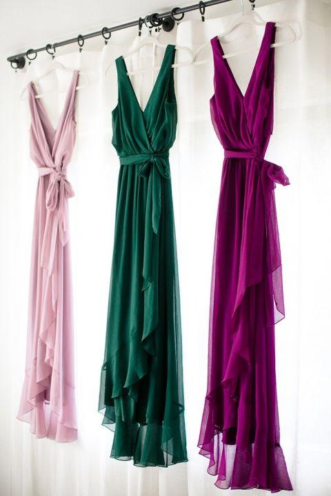 Jewel Tone Mismatched Bridesmaid Dresses