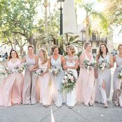 Pastel Bridal Party with Mismatched Dresses