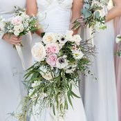 Organic Greenery and Pastel Bridal Bouquet
