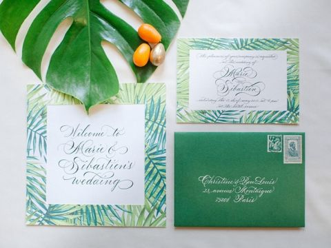 Tropical Greenery Invitation Suite for a Destination Wedding in Paris