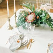 Protea and Pampas Grass Centerpiece with Tropical Greenery