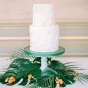 Sugar and Gold Tropical Greenery Wedding Cake
