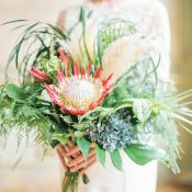 Tropical Greenery and Protea Bouquet for a Chic French Wedding Shoot