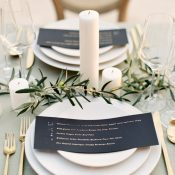 Clean and Modern Wedding Decor in Olive Green and Gold