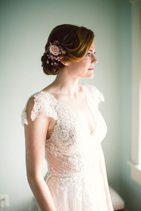 Romantic Lace Wedding Dress with a Floral Headpiece