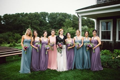 Pastel Mismatched Bridesmaid Dresses