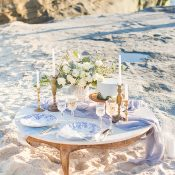 Intimate Blue and White Beach Wedding with Greenery