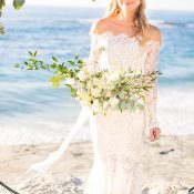 Barefoot Beach Bride in an Off the Shoulder Wedding Dress