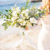 Barefoot Beach Bride in an Off the Shoulder Wedding Dress