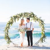 Circle Flower Arch for a Greenery Beach Wedding