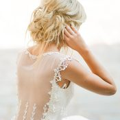 Sheer Lace Wedding Dress with a Bridal Updo