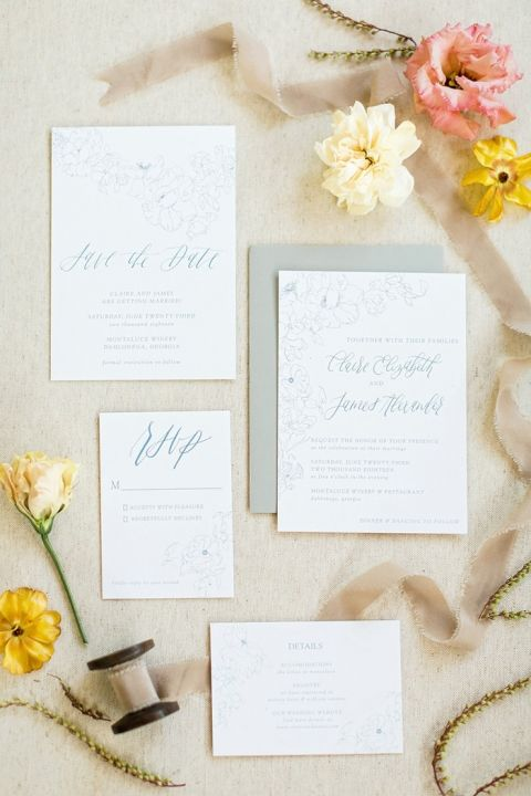 Light and Airy Gray Floral Print Invitations