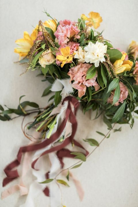 Fresh Spring Bouquet in Pink and Yellow