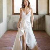 Modern Architectural Wedding Dress with a Skirt Slit