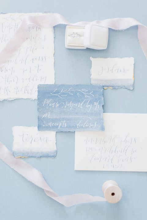 Watercolor Wedding Invitations in Blue and White Ink