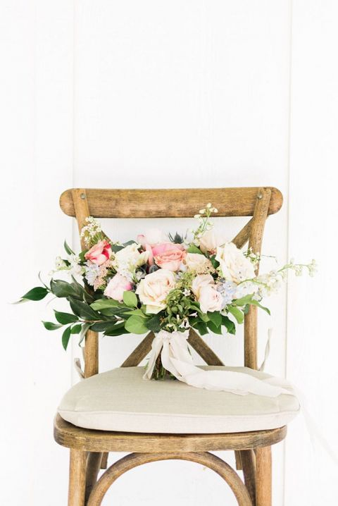 Pastel Peach and Ivory Bouquet for a White Barn Wedding