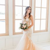 Blush Mermaid Dress for a Stylish Modern Barn Wedding