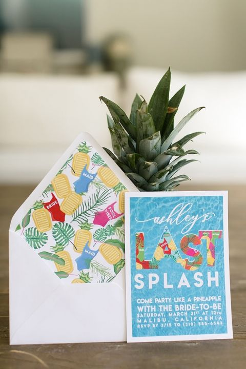Colorful Pool Party Bachelorette Invitations