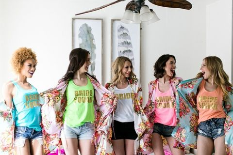 Colorful Bachelorette Outfits with Floral Robes