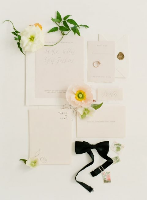 Modern Chic Invitation Suite with Poppy Details