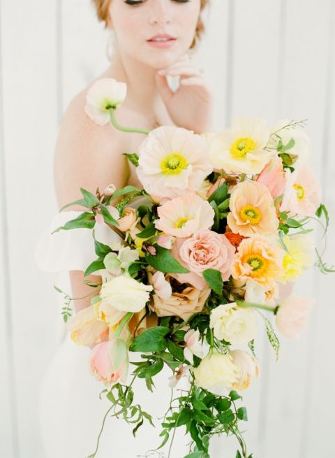 Peach and Pink Poppy Bridal Bouquet