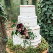 Rustic Wedding Cake with Fall Flowers