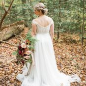 Off the Shoulder Lace and Chiffon Wedding Dress with Fall Flowers