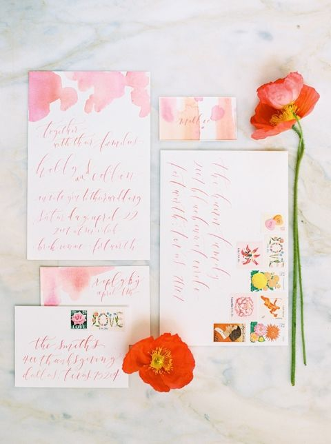 Coral and Poppy Watercolor Invitation