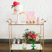 Colorful Dessert and Champagne Cart