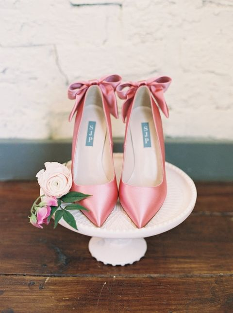 Satin Bow Heels for a Whimsical Preppy Wedding Day