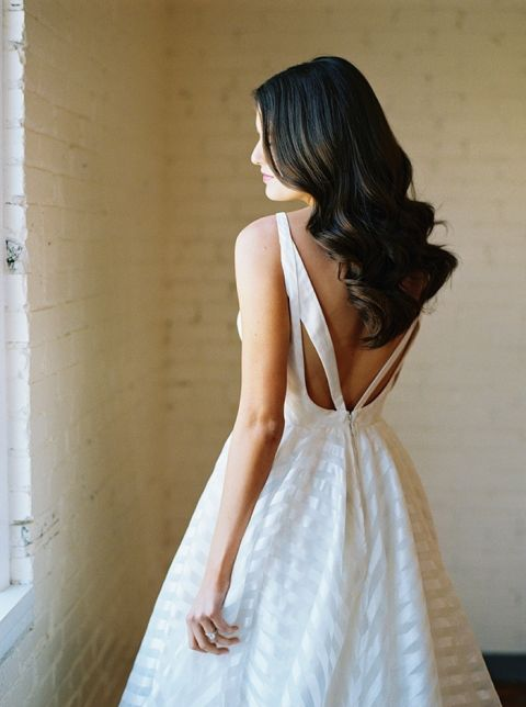 Modern Cut Out Back Wedding Dress with Loose Wavy Hair